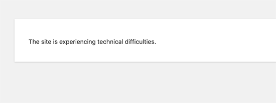 This Site is Experiencing Technical Difficulties